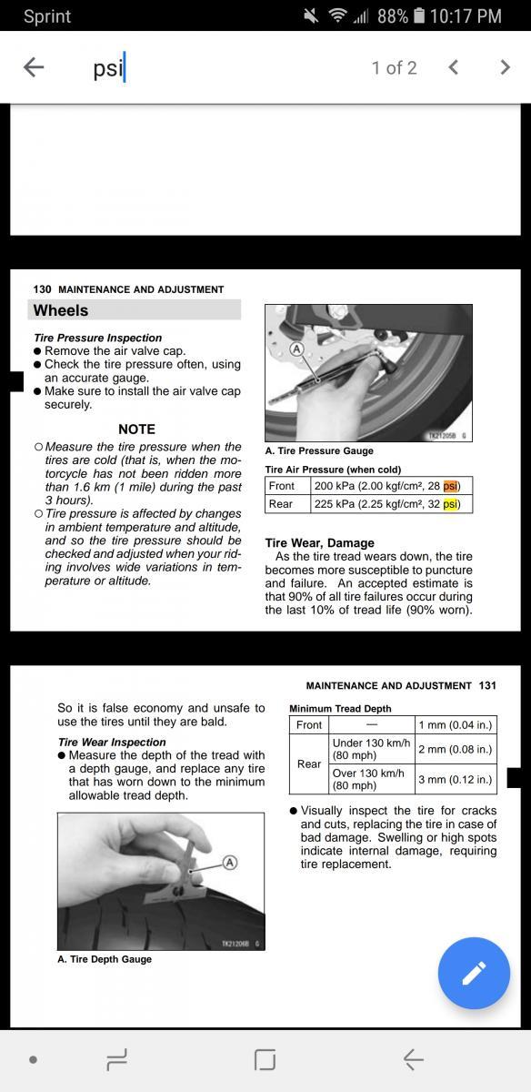 Tyre pressure - Kawasaki Ninja 400 Forum
